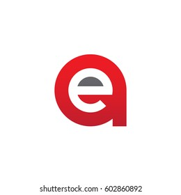 initial logo ae, ea, e inside a rounded letter negative space logo red gray