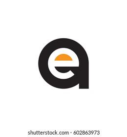 initial logo ae, ea, e inside a rounded letter negative space logo black orange