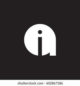 initial logo ai, ia, i inside a rounded letter negative space logo white black background