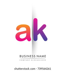 initial logo AK lowercase letter, orange and magenta creative logotype concept, modern and simple logo design.