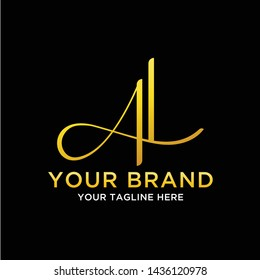 initial logo al, la, va, a7 with the concept of luxury, feminine also look masculine and simple can be categorized as a fashion brand, industry, jewelry, agency, sport, and automotive logo - Vector