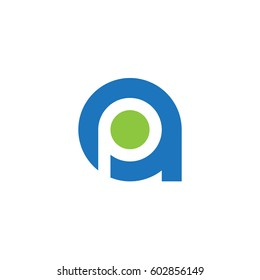initial logo ap, pa, p inside a rounded letter negative space logo blue green