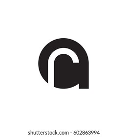 initial logo ar, ra, r inside a rounded letter negative space logo black