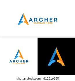 A initial Logo, Up arrow finance logo, Archer business logo template designs