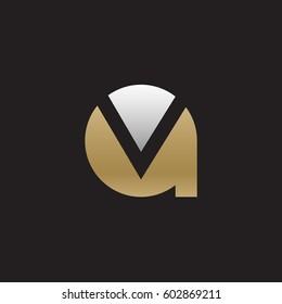 initial logo av, va, v inside a rounded letter negative space logo gold silver