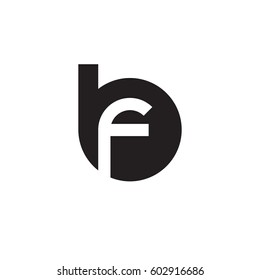 initial logo bf, fb, f inside b rounded letter negative space logo black