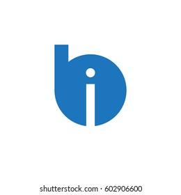 initial logo bi, ib, i inside b rounded letter negative space logo blue