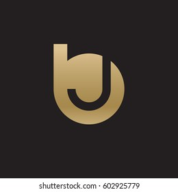 initial logo bj, jb, j inside b rounded letter negative space logo gold