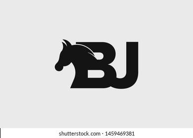 Initial logo BJ letter with stallion head. The combination of letters B and J is black