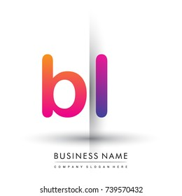 initial logo BL lowercase letter, orange and magenta creative logotype concept, modern and simple logo design.