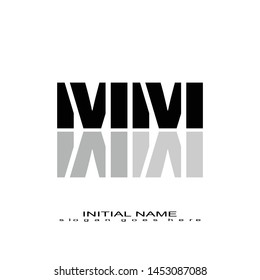 Initial logo black alphabet mirror MM