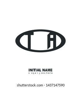 Initial logo black ellipse alphabet TA