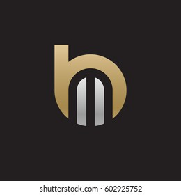 initial logo bm, mb, m inside b rounded letter negative space logo gold silver