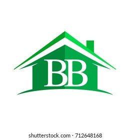 initial logo BS with house icon and green color, business logo and property developer