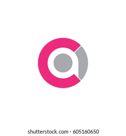 initial logo ca, ac, a inside c rounded letter negative space logo pink gray