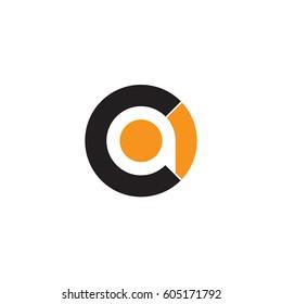 initial logo ca, ac, a inside c rounded letter negative space logo black orange