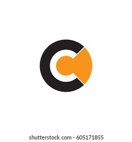 initial logo cc, c inside c rounded letter negative space logo black orange