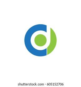 initial logo cd, dc, d inside c rounded letter negative space logo blue green