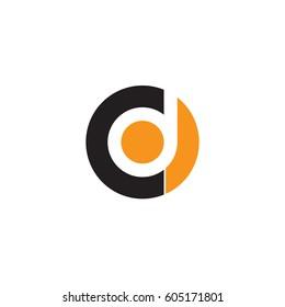 initial logo cd, dc, d inside c rounded letter negative space logo black orange