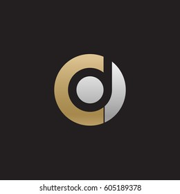 initial logo cd, dc, d inside c rounded letter negative space logo gold silver