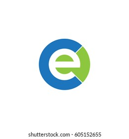 initial logo ce, ec, e inside c rounded letter negative space logo blue green