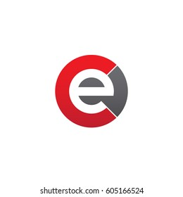 initial logo ce, ec, e inside c rounded letter negative space logo red gray