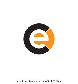 initial logo ce, ec, e inside c rounded letter negative space logo black orange
