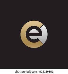 initial logo ce, ec, e inside c rounded letter negative space logo gold silver