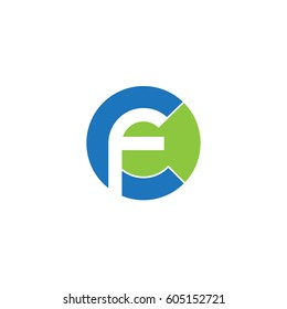 initial logo cf, fc, f inside c rounded letter negative space logo blue green