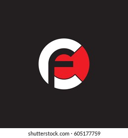 initial logo cf, fc, f inside c rounded letter negative space logo white red black background
