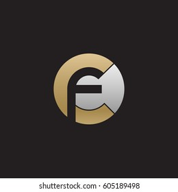 initial logo cf, fc, f inside c rounded letter negative space logo gold silver