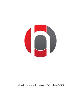 initial logo ch, hc, h inside c rounded letter negative space logo red gray