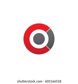 initial logo co, oc, o inside c rounded letter negative space logo red gray