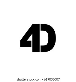 Initial logo, combining letter and number, D and 4, black