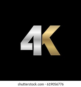 Initial logo, combining letter and number, K and 4, silver gold