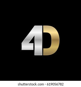 Initial logo, combining letter and number, D and 4, silver gold