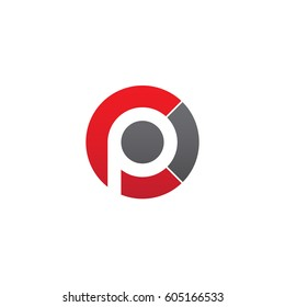 initial logo cp, pc, p inside c rounded letter negative space logo red gray