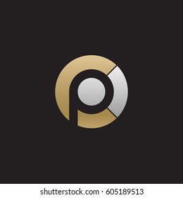 initial logo cp, pc, p inside c rounded letter negative space logo gold silver