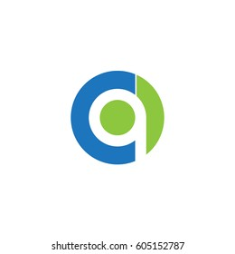 initial logo cq, qc, q inside c rounded letter negative space logo blue green
