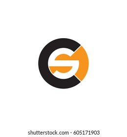 initial logo cs, sc, s inside c rounded letter negative space logo black orange