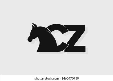 Initial logo CZ letter with stallion head. The combination of letters C and Z is black