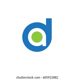 initial logo da, ad, a inside d rounded letter negative space logo blue green