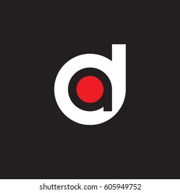 initial logo da, ad, a inside d rounded letter negative space logo white red black background