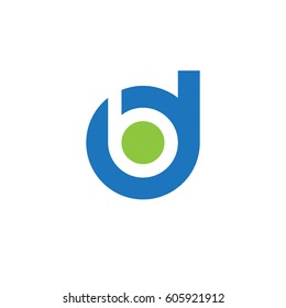 initial logo db, bd, b inside d rounded letter negative space logo blue green