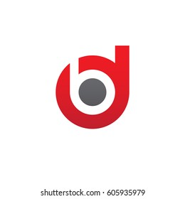initial logo db, bd, b inside d rounded letter negative space logo red gray
