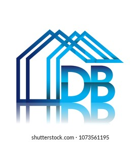 initial logo DB with house icon, business logo and property developer.