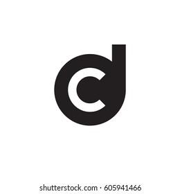 initial logo dc, cd, c inside d rounded letter negative space logo black