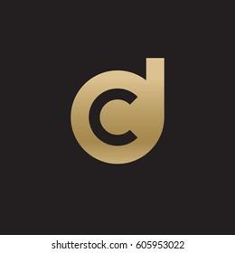 initial logo dc, cd, c inside d rounded letter negative space logo gold