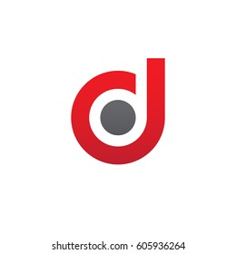 initial logo dd, d inside d rounded letter negative space logo red gray
