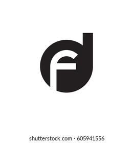initial logo df, fd, f inside d rounded letter negative space logo black
